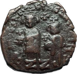 HERACLIUS-amp-Son-H-Constantine-Genuine-610AD-Ancient-Byzantine-Follis-Coin-i66096