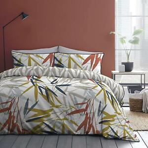 ABSTRACT SKANDI LEAF NAVY SPICE 100% COTTON KING SIZE DUVET COVER