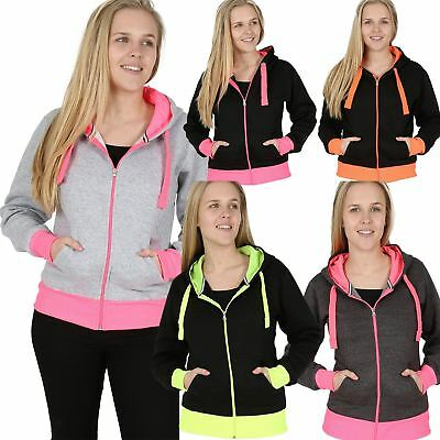 Brillant Sale Womens Fluorescent Contrast Panel Zipup Plain Hoodie Ladies Neon Panel Top