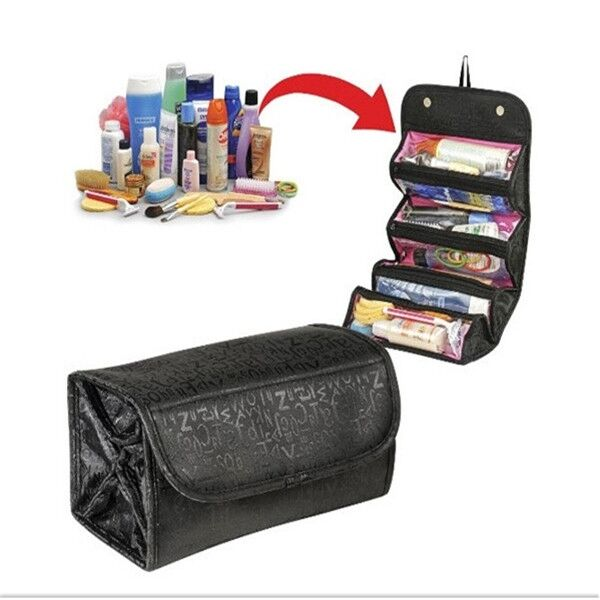 Travel Roll-up Cosmetic Makeup Case Organizer Pouch Hanging Toiletry Wash Bag Z