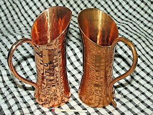Vintage-WEEDA-TASMANIA-COPPER-Pair-of-JUGS-PITCHERS-Australian-Hand-beaten