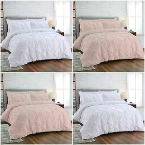 Pintuck Duvet Cover 100/% Egyptian Cotton 200TC Grey Bedding Set Double King Size