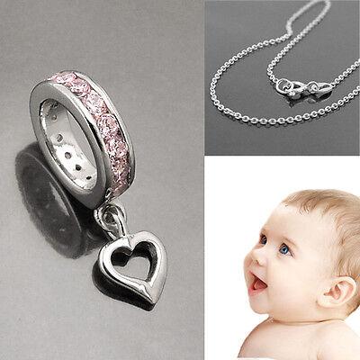 Baby Mädchen Taufring Pink Mit Herz Und Rundanker Kette 38 Cm Echt Silber 925