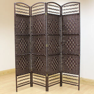 Brown-4-Panel-Wicker-Room-Divider-Hand-Made-Privacy-Screen-Separator-Partition