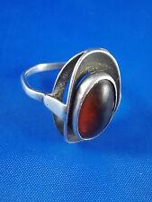 Design Ring 835 Silber mit Bernstein Amber vintage Ø18mm Modernist 60er/70er