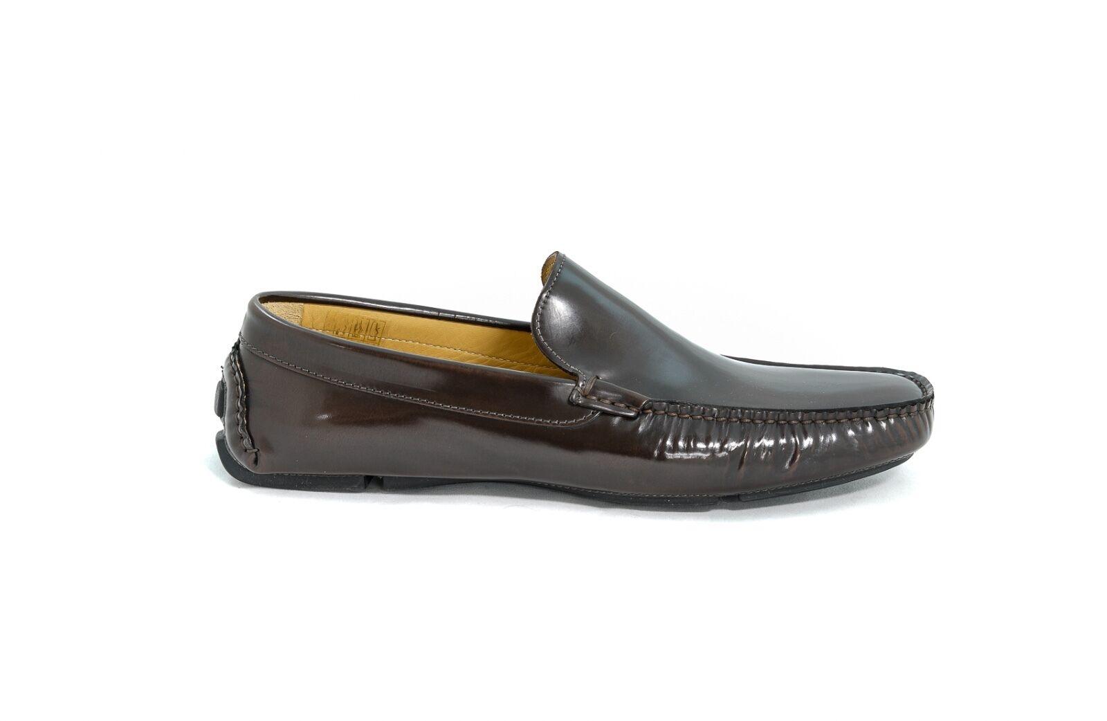 Romeo Gigli Milano Mens Dark Brown Leather Loafers New in Box - RG9015313