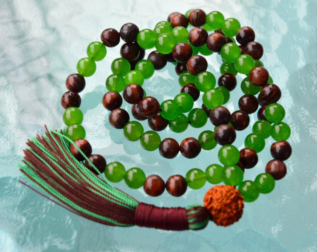 Green Jade, Red Tiger Eye & Rudraksh 108+1 Handmade Buddhist Meditation Beads