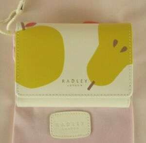 Radley-Apples-and-Pears-Trifold-Purse-Wallet-Ivory-Leather-Medium-New