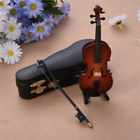Miniature Violin With Bow Musical Instrument Ornament Musical Boxed Dolls House