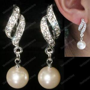 Image Is Loading Clip On Pearl Twist Rhinestone Crystal Drop Earrings