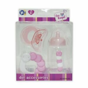 JC-Toys-3-Piece-PINK-Accessory-Gift-Set-includes-Bottle-Pacifier-Ring