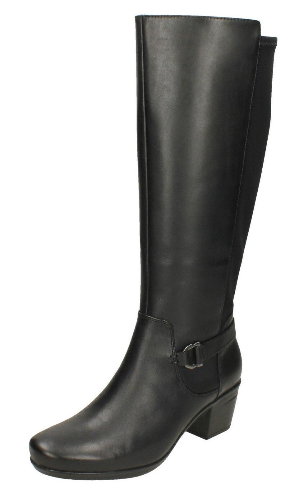 Clarks da Donna Ampia Vestiilit 655533; in pelle Zip  Tacco Spesso Stivali Lunghi  autentico