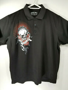 Tattoo-Golf-Mens-Large-Golf-Shirt-Polo-Black-100-Polyester