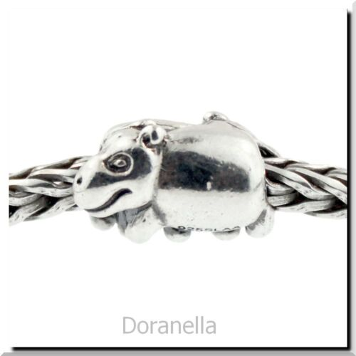 0 RETIRED Authentic Trollbeads Sterling Silver 11215 Hippopotamus