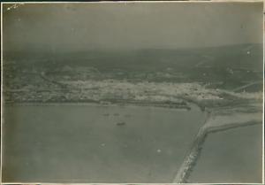 Tunisie-Vue-aerienne-du-Port-de-Bizerte-Vintage-silver-print-Tirage-argent