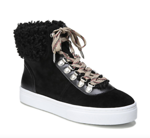 Sam Edelman Women's Black Luther Faux Shearling High Top Sneaker Sz 9M 2574*