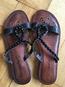 Details zu wie NEU Tamaris Leder Sandalen 38 Sandaletten Pantoletten Flip Flops
