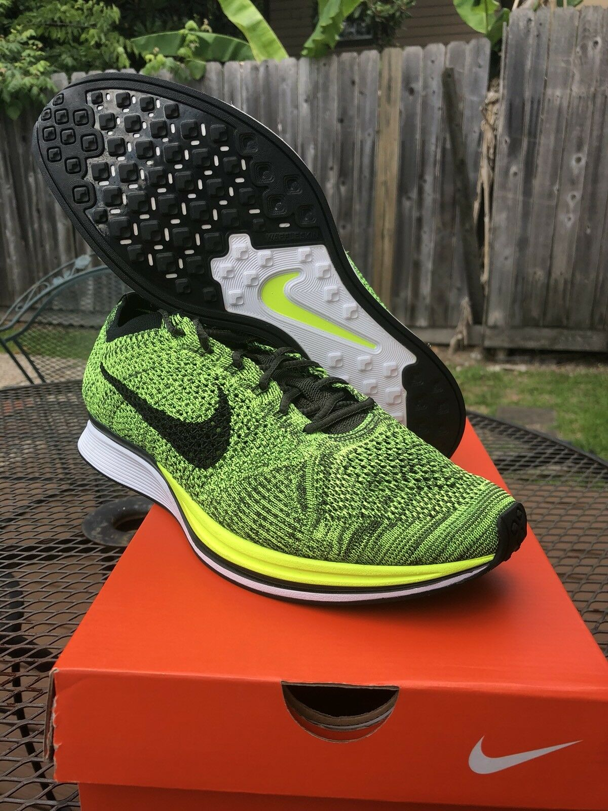 New DS 11.5 Nike Flyknit Racer Volt Neon Green Black Free Air Max Running