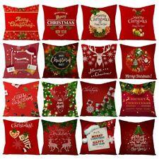 Merry Christmas Cotton Cushion Cover Santa Claus Home Decor Xmas Pillow Case