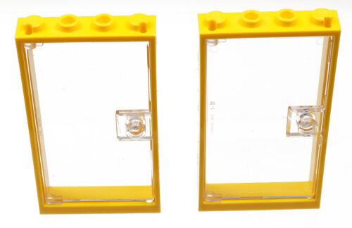 LEGO 2 x Tür Rahmen gelb 1x4x6 mit Tür transparent klar 60596 60616 NEUWARE