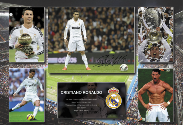 7bdbd3bd529 Cristiano Ronaldo Signed Real Madrid Photo Poster Memorabilia Limited  Edition