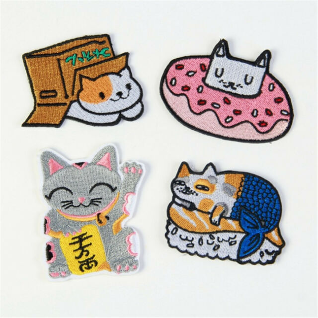 Iron on Patch Cat Kitten Pink Black Punk 5cm x 6cm Sew Applique Embroidered