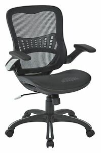 Office Star Mesh Back Seat 2 To 1 Synchro Lumbar Support Managers Chair  Black