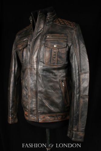 Jacket Biker Brown Washed Leather Men's Quilted Bandito Style Trucker Lambskin Z6nwzqv
