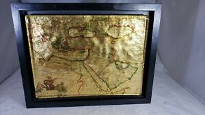 TVRCICUM-IMPERIVM-ANTIQUE-GOLD-amp-COPPER-FOIL-OTTOMAN-EMPIRE-Glass-Map-Framed