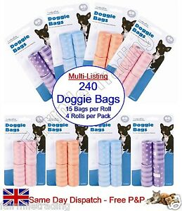 4 x 60 Large Pet Waste Bag Roll Dog Doggy Doggie Poo Scooper Refill 31 x 22cm