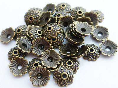 50 x 8mm Antique Bronze Tibetan Style Bead Caps Endbeads Findings LF NF