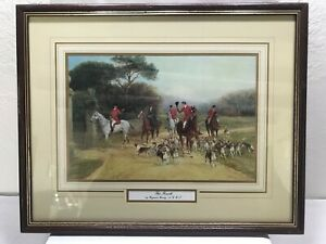 Vintage-Print-034-The-Finish-034-Heywood-Hardy-Framed-Matted-Fox-Hunting-Horse