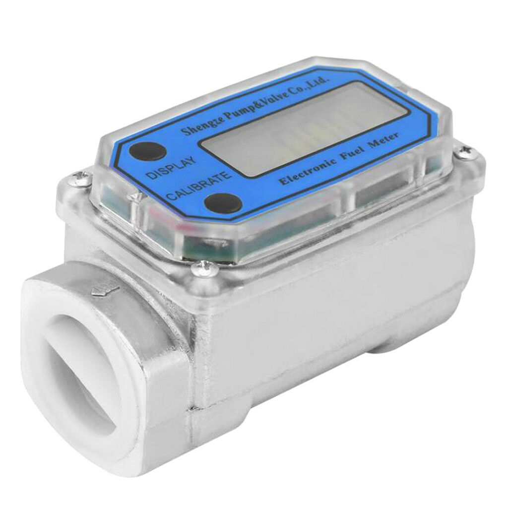 Digital Diesel Fuel Flow Meter 1'' Electronic Turbine Flow Gauge LLW-25 bluee