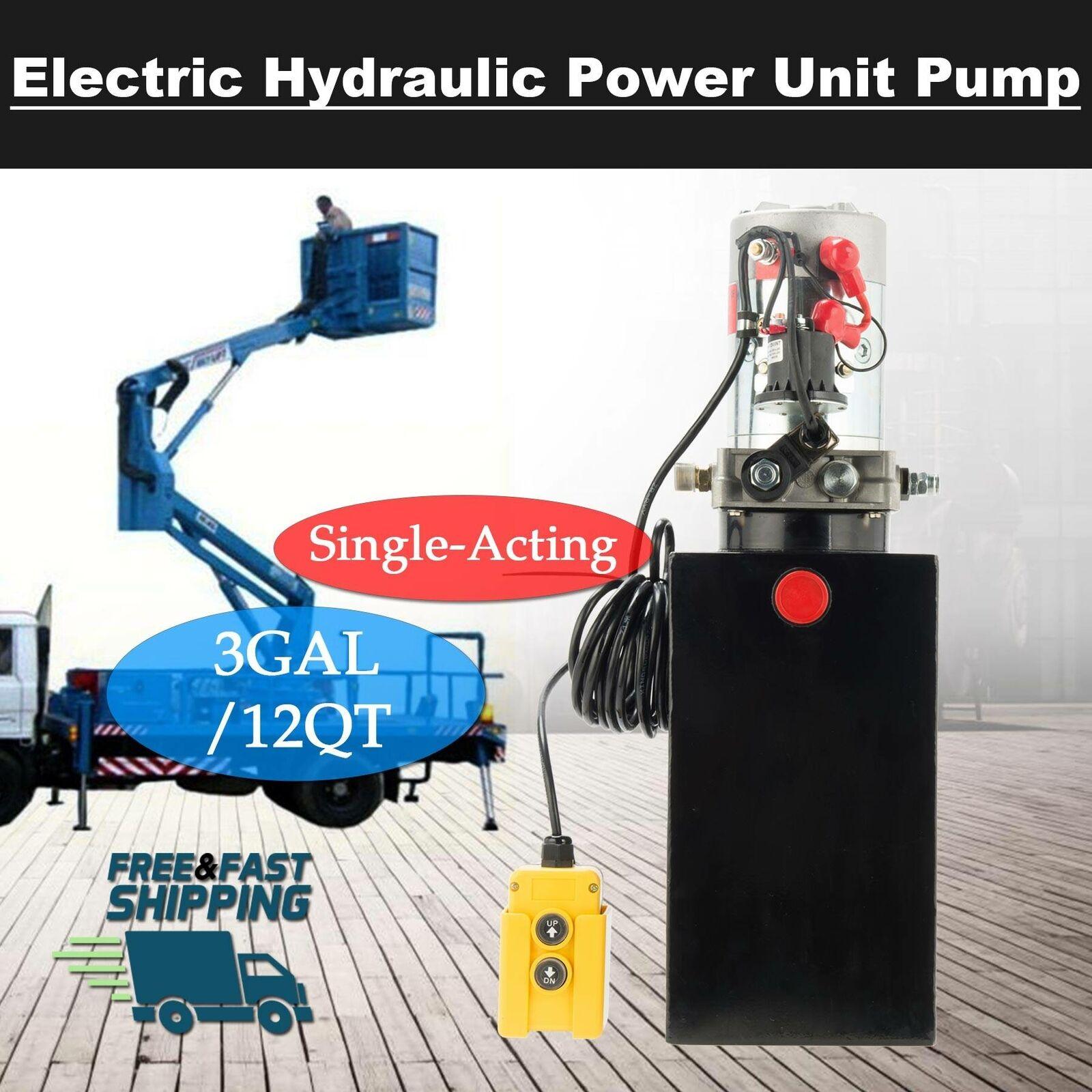 Bestauto 15 Quart Hydraulic Pump Single Acting Hydraulic Power Unit Dump Trailer Hydraulic Pump 12V Electric Hydraulic Pump with Plastic Hydraulic Reservoir for Car Lift