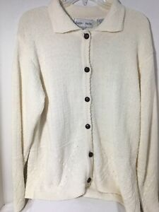 Women-039-s-Baxter-Wells-Creamy-White-Cotton-Blend-Cardigan-Sweater-Size-Medium