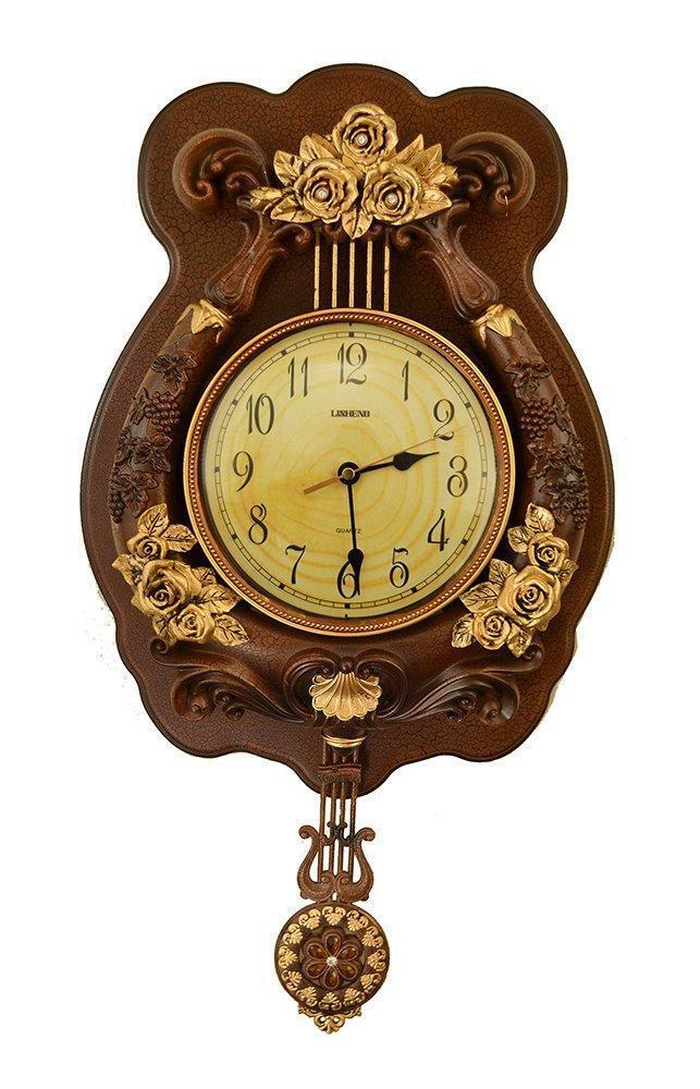 (D) élégante Horloge Murale 23 x 12 in (environ 30.48 cm) harpe avec roses