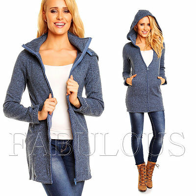 Womens Long Jacket Size 8 10 12 14 16 Warm Zip Coat Outerwear Fitted S M L XL