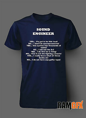 Bnwt Sound Engineer Rock Band Music Amps Tunes Adult T Shirt S-xxl Personalised