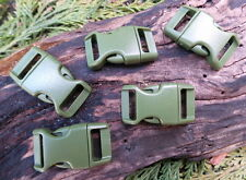 """5 x 15mm 5/8"""" GREEN CONTOURED QUICK RELEASE PARACORD SURVIVAL BUSHCRAFT BUCKLES"""