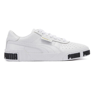 puma cali bold womens white trainers lace up sport casual