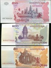 Cambodia - 50, 100 and 500 Riels - set of 3 UNC currency notes