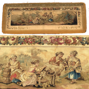 RARE-55-5-034-Long-Antique-French-Aubusson-Tapestry-Fragment-Sofa-Panel-Figural