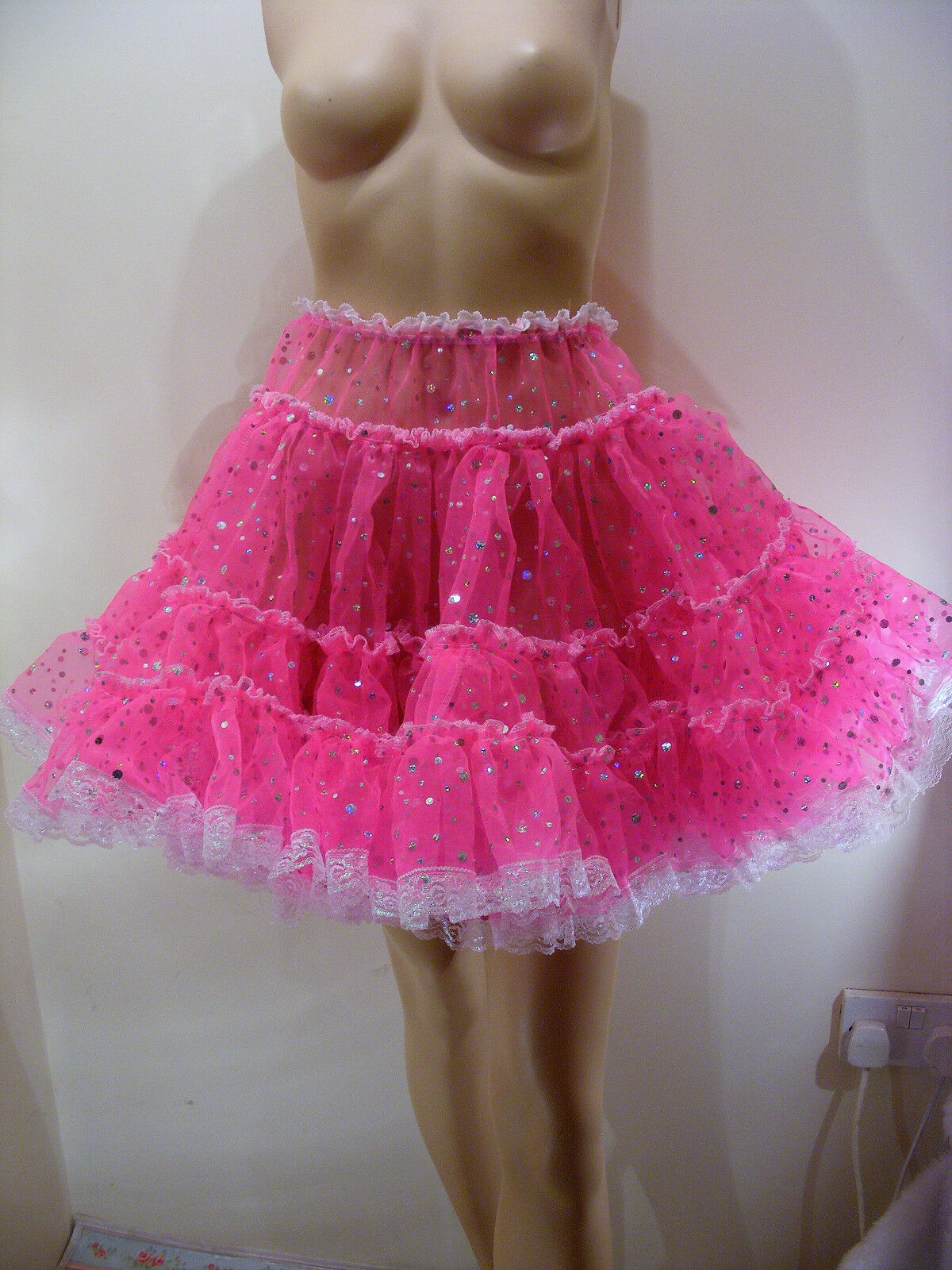 SISSY ADULT BABY PINK SEQUIN ORGAZA SKIRT SLIP 18 LONG LOLITA FANCYDRESS COSPLAY