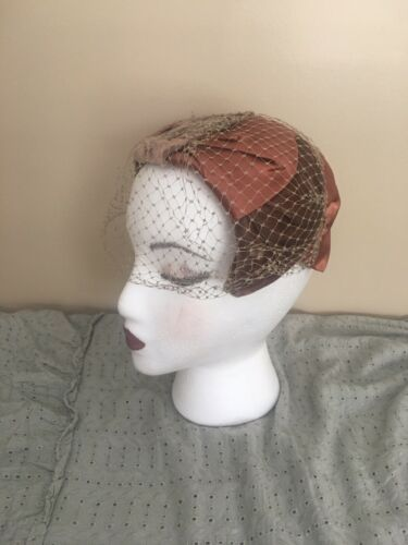 Brown And Dusty Rose Vintage Hat