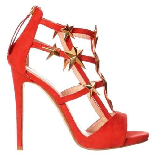 Mujer Gladiador Corte Estrellas Doradas Tacón Alto Sitletto Zapatos Fiesta