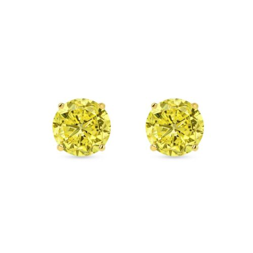 Details about  /4.50 Ct Round Cut Canary Earrings Studs Solid 14K Yellow Gold Push Back Basket