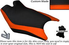 DESIGN 2 ORANGE & BLACK CUSTOM FITS KTM RC8 R 1190 FRONT LEATHER SEAT COVER