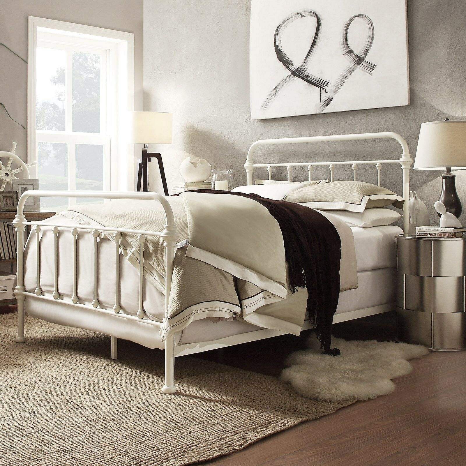 the best attitude 6c35c 0af95 Details about Queen Size Complete Bed Vintage Style Metal Headboard  Footboard Spindle Frame