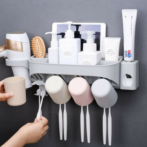 Automatic Toothpaste Dispenser+Toothbrush+Hair Dryer+Mug Holder Set Wall Mount