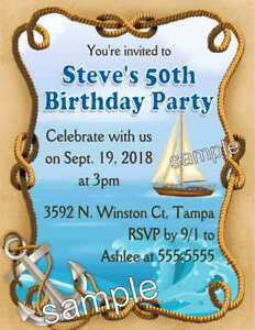 Image Is Loading 20 NAUTICAL BOATING BIRTHDAY PARTY INVITATIONS W Envelopes